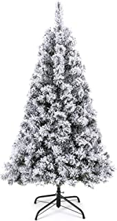 Best Choice Products 4.5ft Snow Flocked Hinged Artificial Pine Christmas Tree Holiday..