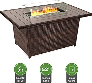 Best Choice Products 52in Outdoor Wicker Propane Fire Pit Table 50,000 BTU w/Glass Wind..