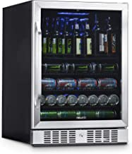 NewAir Built-In Beverage Cooler and Refrigerator, Stainless Steel Mini Fridge with Glass..
