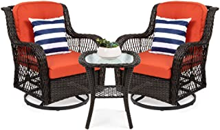 Best Choice Products 3-Piece Patio Wicker Bistro Furniture Set w/ 2 Cushioned Swivel..