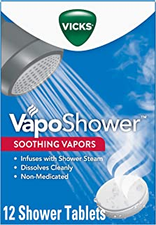 Vicks VapoShower, 12ct Shower Bomb Tablets, 4 Boxes of 3 Tablets, Soothing Vicks Vapor..