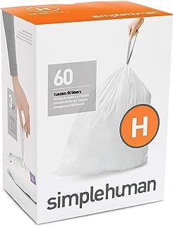 simplehuman EMW6298392 Custom Fit Drawstring Trash Bags, 60 Pack, White, 60