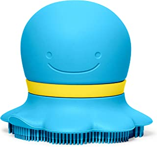 Skip Hop Baby Soap Dispenser with Soft Silicone Scrubbing Bristles, Moby, Blue