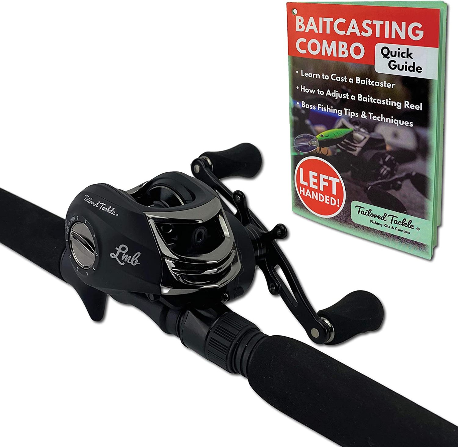 Tailored Tackle (Left Handed Bass Fishing Rod Reel Baitcasting Combo