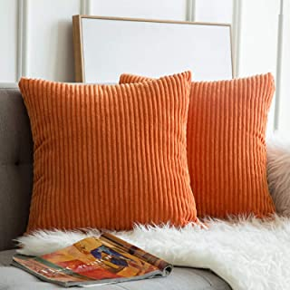 MIULEE Pack of 2, Corduroy Soft Soild Fall Decorative Square Throw Pillow Covers Set..