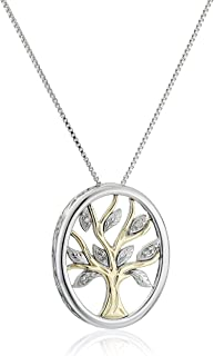 """Sterling Silver and 14k Yellow Gold Diamond Accent Family Tree Pendant Necklace,18"""""""