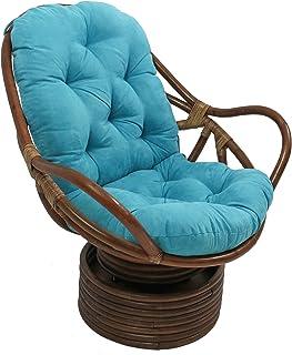 "Blazing Needles Solid Microsuede Swivel Rocker Chair Cushion, 48"" x 24"", Aqua Blue"