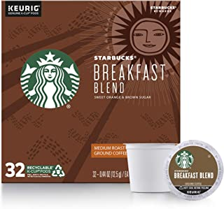 Starbucks Medium Roast K-Cup Coffee Pods Breakfast Blend for Keurig Brewers ,32 Count (Pack of 1)