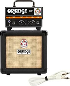 Orange Micro Dark Terror Hybrid Amp Head Mini Stack Combo w/ Cabinet and Speaker Cable, Black