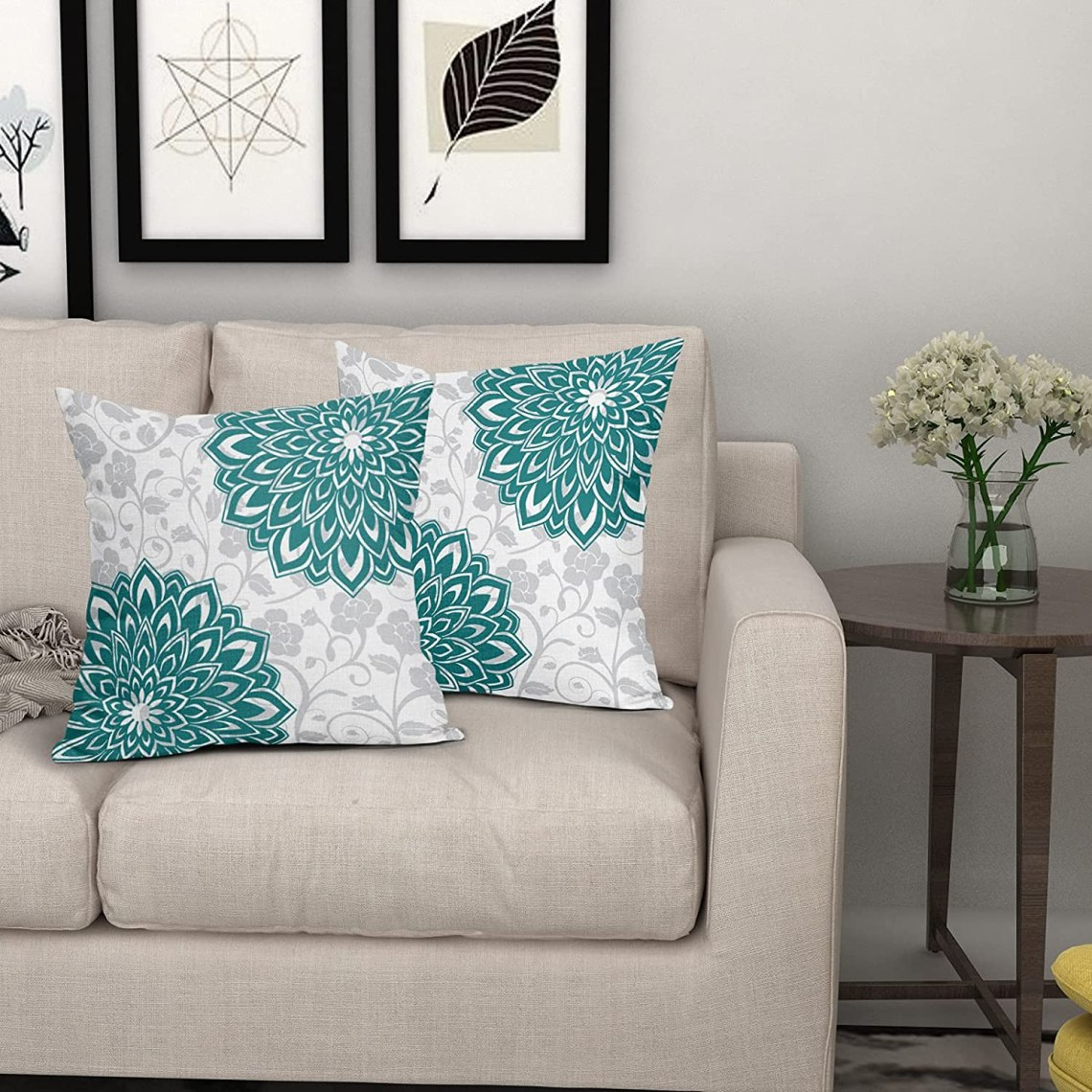 Buy Dahlia Pillow Covers Pack Of 2 18x18 Inch Teal Grey Turquoise Mandala Decorative Pillows Cover For Bedroom Living Room Decor Home Office Sofas Outdoor Decoration Linen Square Spring Flower Pillowscase Online