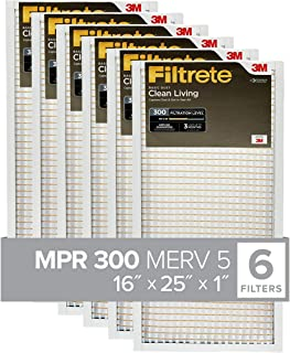 Filtrete 16x25x1, AC Furnace Air Filter, MPR 300, Clean Living Basic Dust, 6-Pack