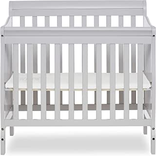 Dream On Me Aden 4-in-1 Convertible Mini Crib in Grey, Greenguard Gold Certified