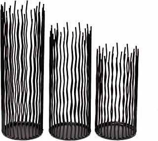 GiveU Metal Iron Willow Led Candle Holder Set of 3, Halloween Black Pillar Candle Holder Set,8/10/12 inch Height, for Indoor & Outdoor Decora, Dining Room, Home Decoration