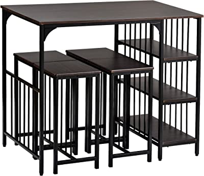 Amazon Com 5 Piece Dining Table Set Counter Height Dining Set With 3 Tier Storage Shelf And 4 Dining Stools For Kitchen And Dining Room Espresso Table Chair Sets