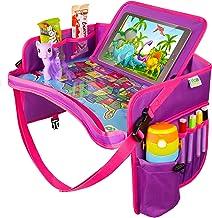 US Kids Car Seat Travel Tray Pink – Carseat Organizer w/Dry Erase Board –..