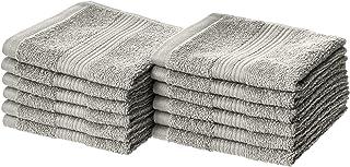 AmazonBasics Fade-Resistant Cotton Washcloths – Pack of 12, Grey