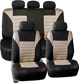 FH Group FB068BEIGE115 Beige Universal Car Seat Cover (Premium 3D Air mesh Design Airbag..