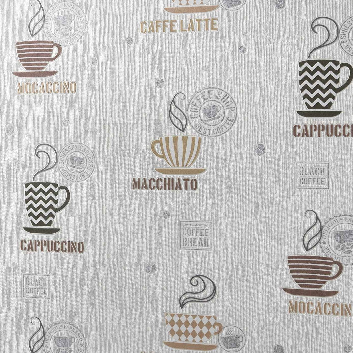 Kitchen Wallpaper Mugs Utensils Cream Coffee Brown Paste The Wall Textured Vinyl Amazon Co Uk Diy Tools