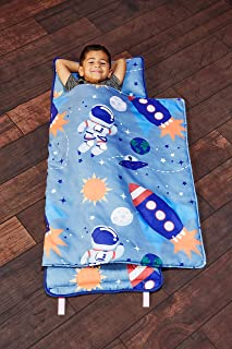 EVERYDAY KIDS Toddler Nap Mat w/Removable Pillow -Outer Space Adventures- Carry Handle..