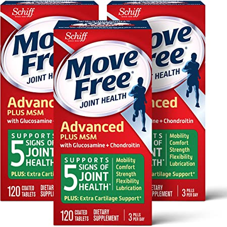 Move Free Msm 1500Mg (Per Serving) With Glucosamine And Chondroitin - Advanced Joint Support Tablets, For Mobility Flexibility Strength Lubrication And Comfort, Cartilage (120 Count In A Box) (3 Pack)
