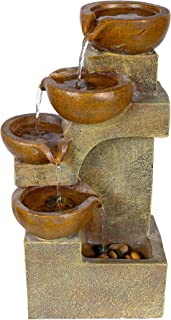 Alpine Corporation WCT726 Tiering Pots Fountain, 17 Inch Tall, Brown