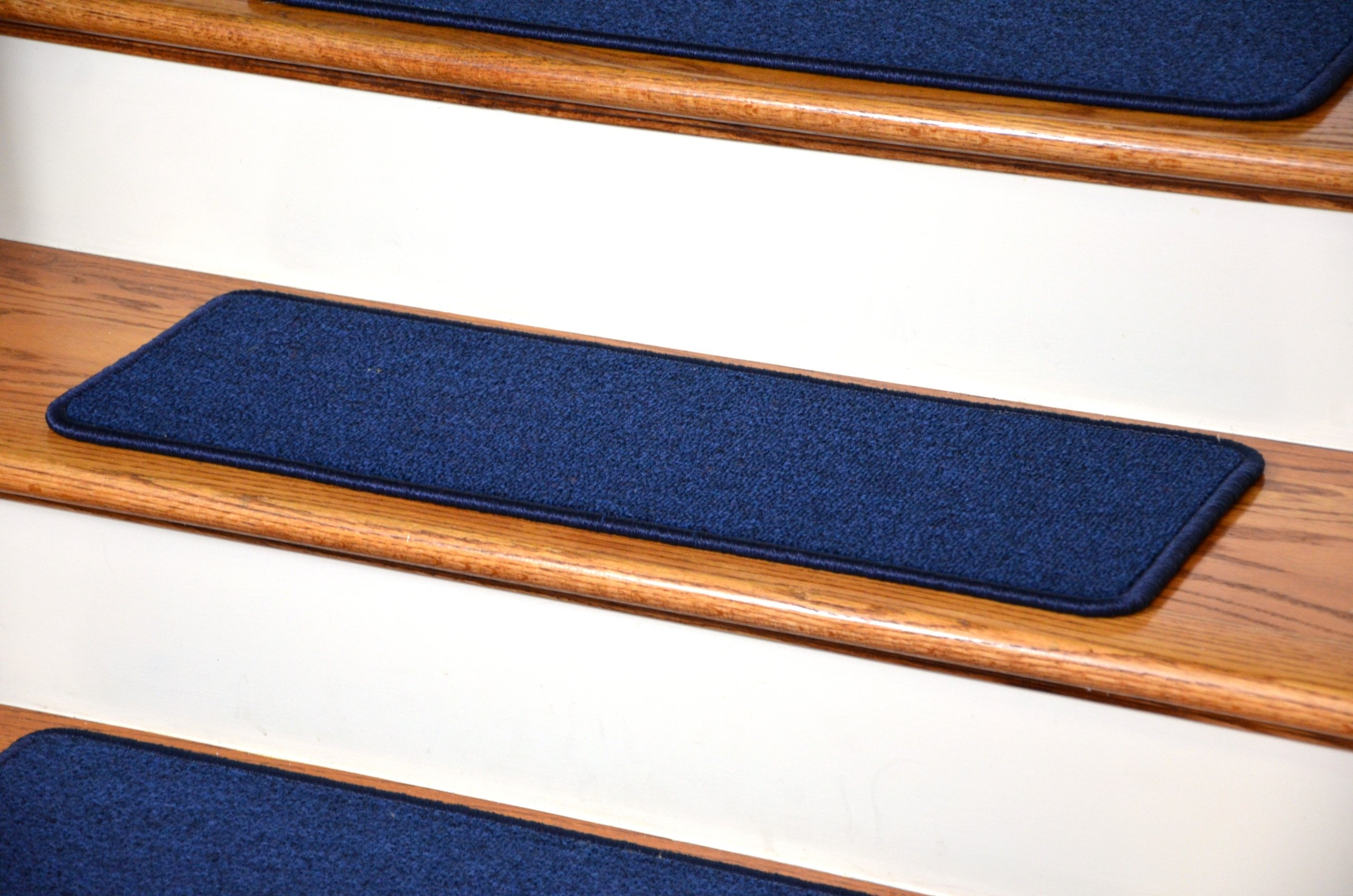 Dean Diy Peel And Stick Serged Non Skid Carpet Stair Treads Navy | Stick On Stair Runners | Hardwood | Stick Serged | Beige Carpet | Wood | Carpet Tiles