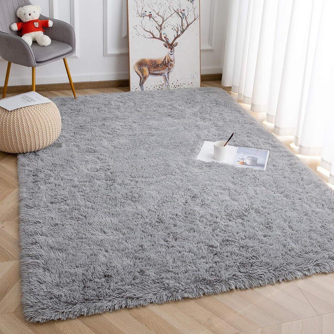 Amazon Com Vasofe Plush Area Rugs Soft Fluffy Rugs Shaggy Floor Carpet For Bedroom Livingroom Dormitory Home Decor Kids Room Nursery Rug 4 X 5 9 Grey Home Kitchen