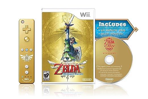Amazon.com: The Legend of Zelda: Skyward Sword Gold Remote Bundle :  Videojuegos