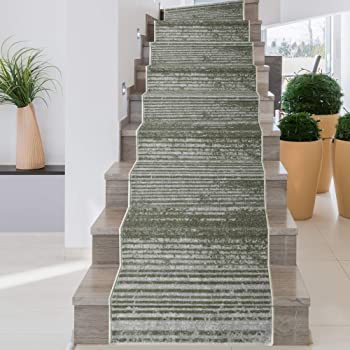 Amazon Com Icustomrug Decorative Area Rug And Carpet Runner For Stairs Hallway 8 Patterns Customizable Lengths Non Skid Rubber Back Stripe Taupe 26 X 9 Kitchen Dining