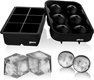 glacio Ice Cube Trays Silicone Combo Mold – Set of 2, Sphere Ice Ball Maker with..