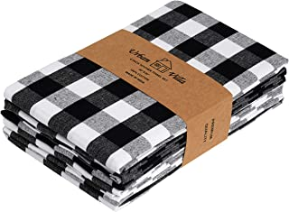 Urban Villa Kitchen Towels, Premium Quality,100% Cotton Dish Towels,Mitered Corners,Ultra Soft (Size: 20X30 Inch), Black/White Highly Absorbent Bar Towels & Tea Towels - (Set of 6)