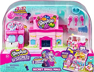 Shopkins Lil' Secrets Secret Small Mall Multi Level Playset with Grocery Store Fashion Boutique and Ice Cream Truck
