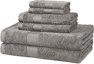 AmazonBasics 6-Piece Fade-Resistant Cotton Bath Towel Set – Grey