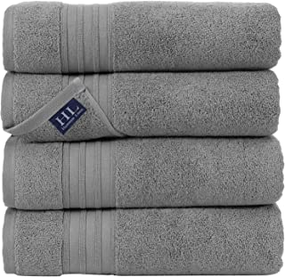 Hammam Linen 100% Cotton 27×54 4 Piece Set Bath Towels Cool Grey Soft and Absorbent,..