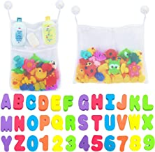 Comfylife 2 x Mesh Bath Toy Organizer + 6 Ultra Strong Hooks + 36 Bath Letters &..