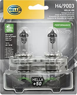 HELLA H4P50TB +50 Performance Bulb, 12V, 60/55W, 2 Pack