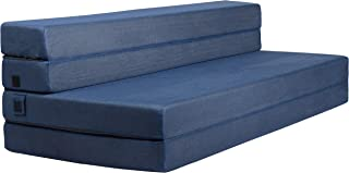 Milliard Tri-Fold Foam Folding Mattress and Sofa Bed for Guests – Queen 78x58x4.5 Inch (Navy)