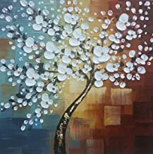 Wieco Art Large Modern Abstract White Flowers Oil Paintings on Canvas Wall Art Morning..