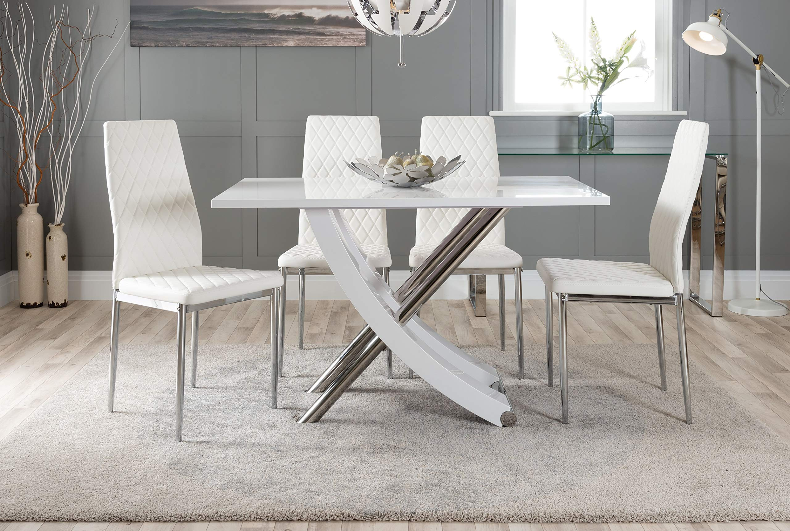 Furniturebox Uk Mayfair 4 Modern White High Gloss Stainless Steel Metal Dining Table And 4 Stylish Milan Dining Chairs Seats Set Dining Table 4 White Milan Chairs Amazon Co Uk Kitchen Home