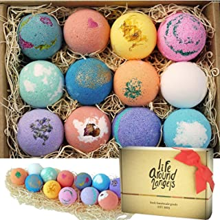 LifeAround2Angels Bath Bombs Gift Set 12 USA made Fizzies, Shea & Coco Butter Dry..