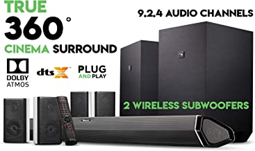 "Nakamichi Shockwafe Ultra 9.2.4 Channel 1000W Dolby Atmos Soundbar with Dual 10"".."