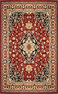 Superior Glendale Collection Area Rug - Traditional Brown Oriental Rug, 8 mm Pile, Jute Backing Floor Rug, Red, 8' x 10'
