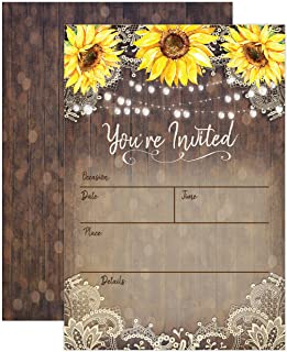 Country Lace and Sunflower Invitations, Rustic Elegant invites for Wedding Rehearsal..