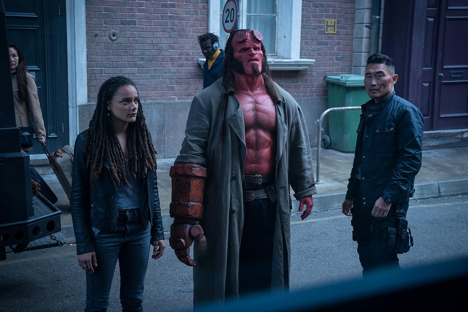 Daniel Dae Kim, David Harbour, and Sasha Lane / Hellboy / Summit Entertainment. © 2019. All rights reserved.