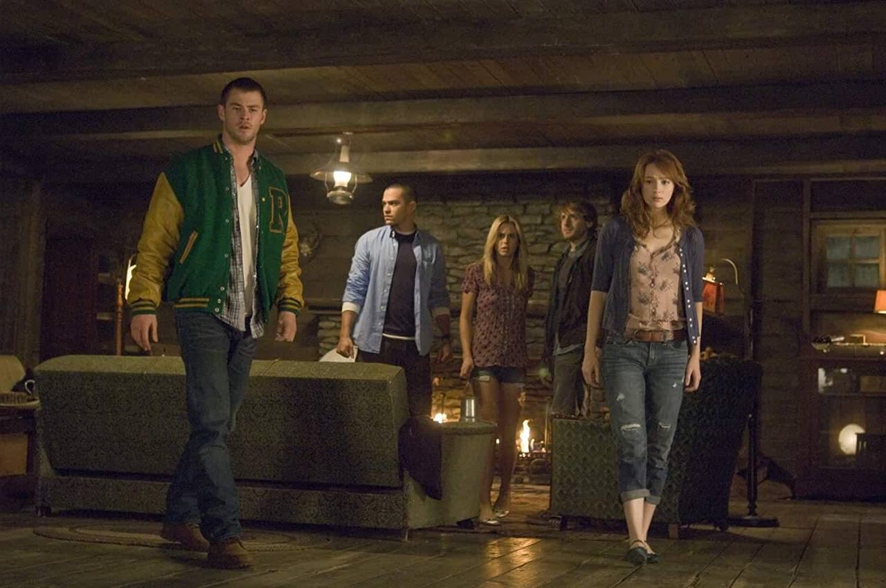 Anna Hutchison, Fran Kranz, Jesse Williams, Chris Hemsworth, and Kristen Connolly in The Cabin in the Woods (2011)