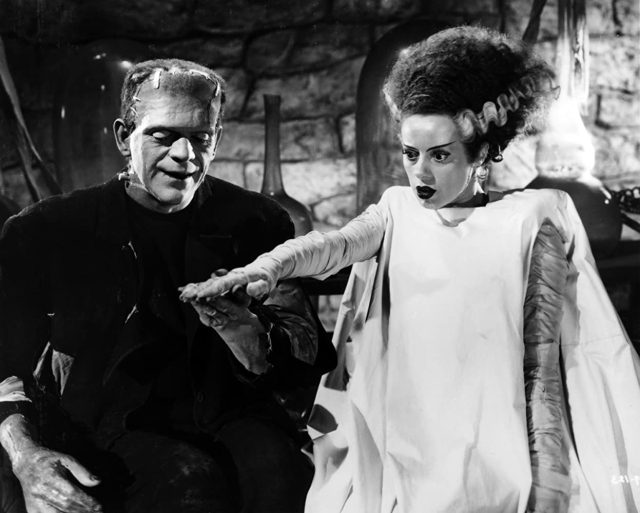 Boris Karloff and Elsa Lanchester in Bride of Frankenstein (1935) [Halloween Romance] 9 Best Undead Couples in Movies