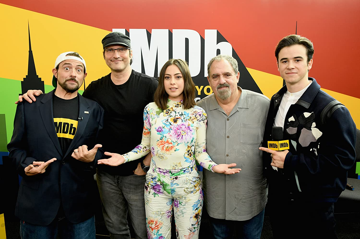 Robert Rodriguez, Kevin Smith, Jon Landau, Rosa Salazar, and Keean Johnson at an event for Alita: Battle Angel. Photo by Dimitrios Kambouris - © 2018 Getty Images - Image courtesy gettyimages.com