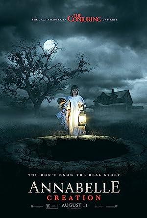 Poster do filme Annabelle - onde uma garota segura sua boneca a frente de uma mansão sombria na noite