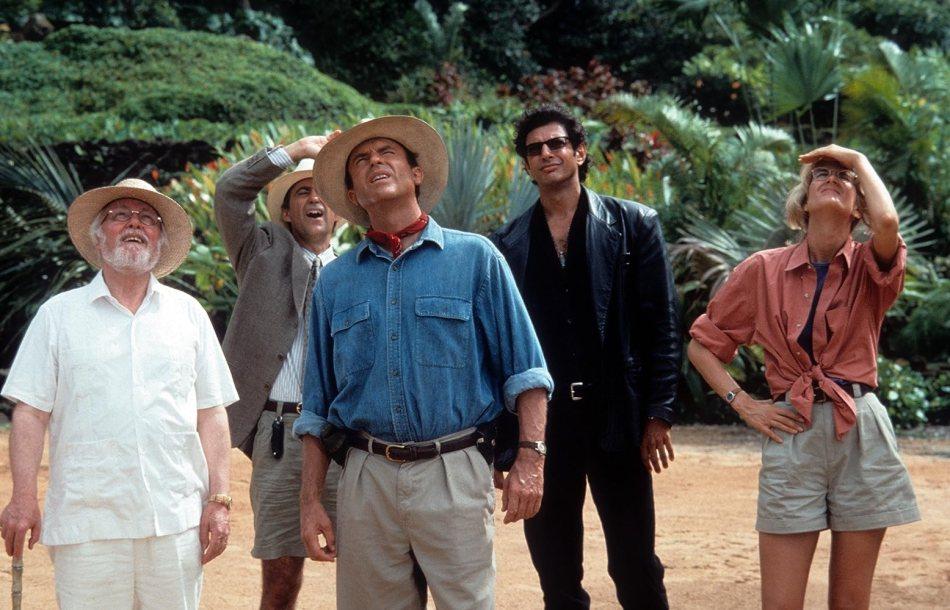 Jeff Goldblum, Richard Attenborough, Laura Dern, Sam Neill, and Martin Ferrero in Jurassic Park (1993)