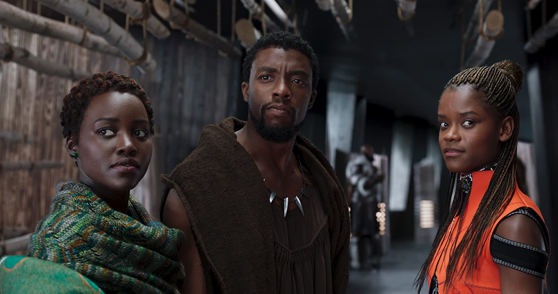 Chadwick Boseman, Lupita Nyong'o, and Letitia Wright / Black Panther / Marvel Entertainment & Walt Disney Studios. © 2018. All rights reserved.